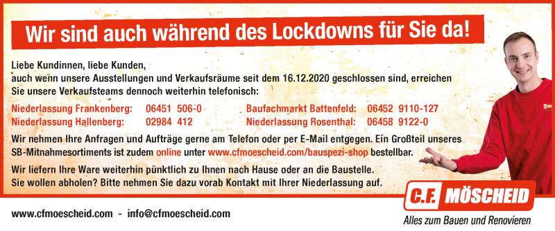 Corona-Lockdown Hinweise